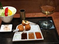 東京銀座に串揚げとワインの飲食店
